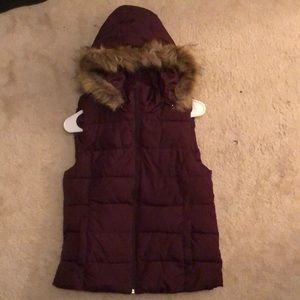 Fur lined puffed vest